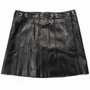 [BCBGMaxAzria] Genuine Leather Mini Skirt Black